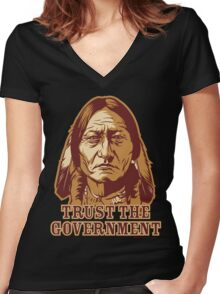 Trust Government Sitting Bull Women's Fitted V-Neck T-Shirt