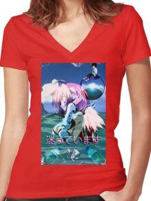 Ikaros Vaporwave Women's Fitted V-Neck T-Shirt