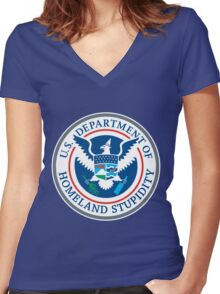 Department of Homeland Stupidity Women's Fitted V-Neck T-Shirt