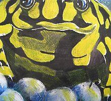 Australian Endangered Corroboree Frog Guarding Eggs Alternate 2 by Heatherian
