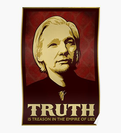 Julian Assange Truth Is Treason Poster