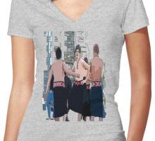 Maori Boys dancers Women's Fitted V-Neck T-Shirt