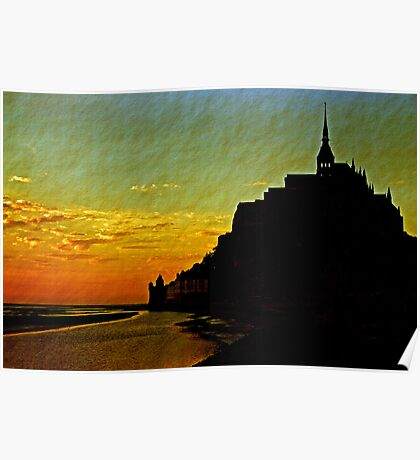 Mont Saint Michel, France (The Marvel) at Sunset Poster