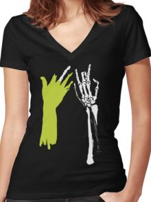 Zombie Hands Women's Fitted V-Neck T-Shirt