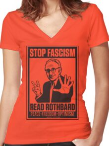 Stop Fascism: Read Rothbard Women's Fitted V-Neck T-Shirt