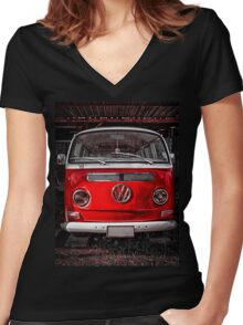 Volkswagen combi Red Women's Fitted V-Neck T-Shirt