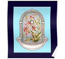 Blue Flower Porcelain Wash Basin Two Poster