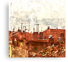 roofs of the old Cannes Canvas Print
