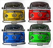 Multi colors Volkswagen kombi Poster