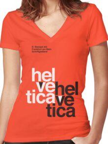 Helvetica T-Shirt - Orange Women's Fitted V-Neck T-Shirt