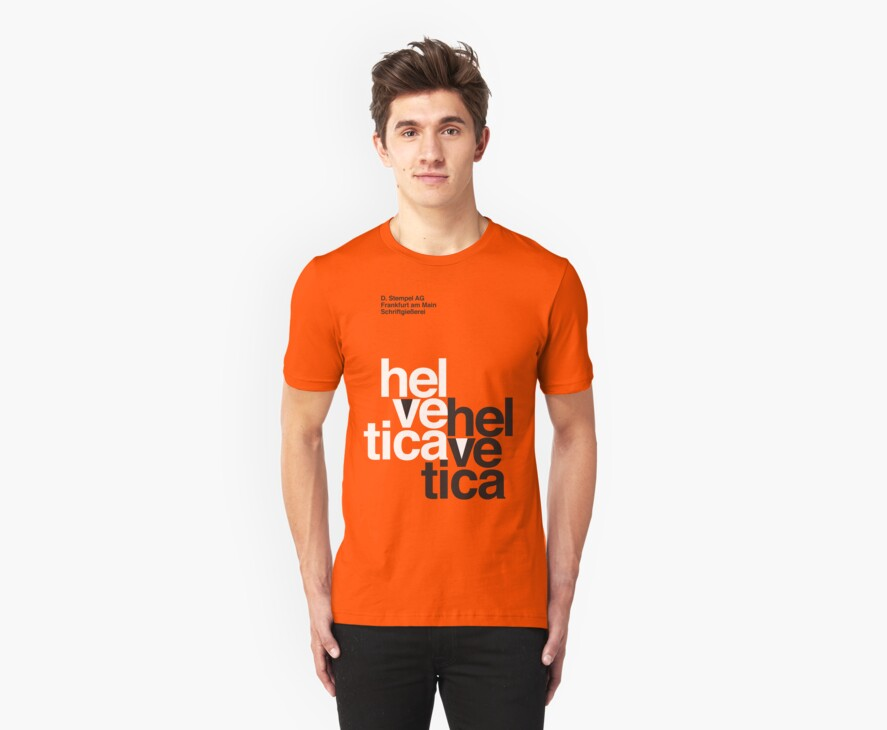 Helvetica T-Shirt - Orange by thedotmack