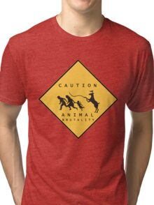 Caution Animal Brutality Tri-blend T-Shirt
