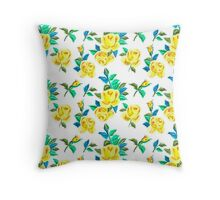 Vintage Roses in Yellow Throw Pillow
