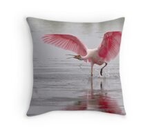 Angry Spoonbill Throw Pillow