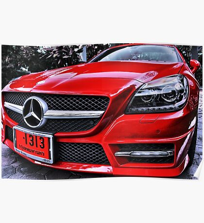 MERCEDES BENZ Front_red Poster