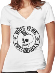 Pure Psychobilly - Black Stamp Women's Fitted V-Neck T-Shirt