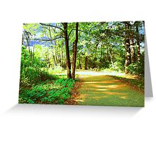 digital oil painting of a forest road Greeting Card