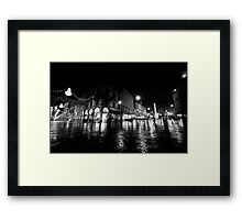 Wideangle urban cityscape in a rainy night Framed Print