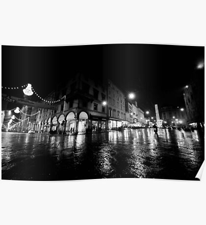 Wideangle urban cityscape in a rainy night Poster