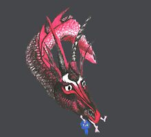 Dragon eating Tory Women's Fitted V-Neck T-Shirt