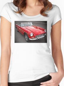 Red convertible MG classic car Women's Fitted Scoop T-Shirt