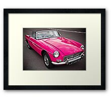 Pink convertible MG classic car Framed Print