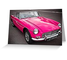 Pink convertible MG classic car Greeting Card
