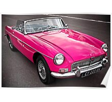 Pink convertible MG classic car Poster
