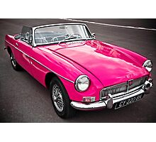 Pink convertible MG classic car Photographic Print