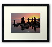 Winchelse Beach - Low Tide Posts in the Sunset Framed Print