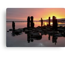 Winchelse Beach - Low Tide Posts in the Sunset Canvas Print