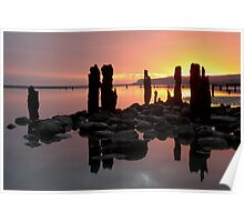 Winchelse Beach - Low Tide Posts in the Sunset Poster