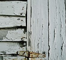 Old white paint and weathered hinges by ashley hutchinson