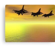 Three F-16 Fighters over the Ocean  Canvas Print