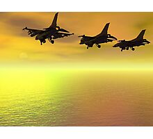 Three F-16 Fighters over the Ocean  Photographic Print