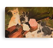 gattini con violino Canvas Print