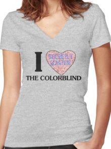 I love the colorblind Women's Fitted V-Neck T-Shirt