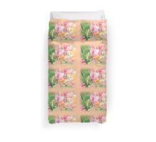 Honeysuckle flower with peach border Duvet Cover