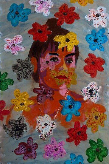 Painting: Projection of a Woman's Portrait on a Flowery Wallpaper by visfineart