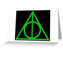 Deathly Hallows green Greeting Card