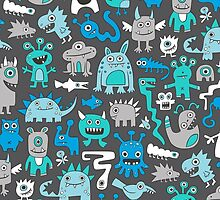 Monsters in Blue by CajaDesign
