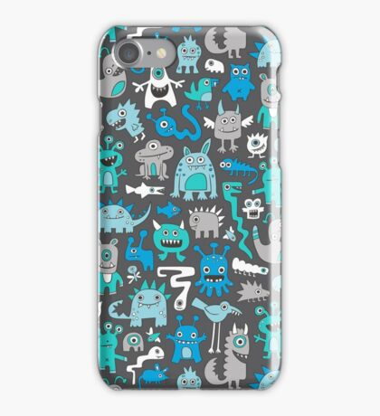 Monsters in Blue iPhone Case/Skin