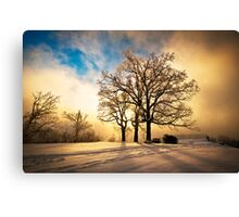 Fire and Ice - Winter Sunset Landscape Canvas Print