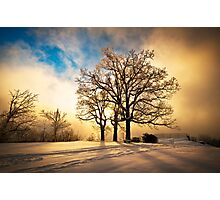 Fire and Ice - Winter Sunset Landscape Photographic Print