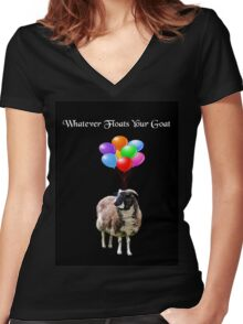Whatever Floats Your Goat (black) Women's Fitted V-Neck T-Shirt