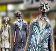 Surprised Men, on Bourke Street ,Melbourne by Pauline Tims