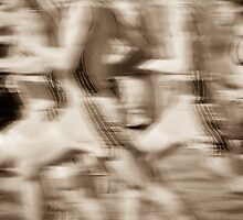 """""""The Race"""" - runners racing by by John Hartung"""