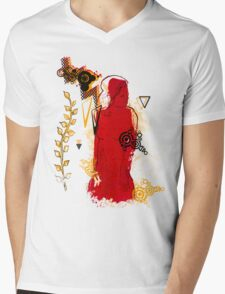woman in red Mens V-Neck T-Shirt