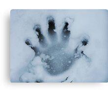 Handprint In The Snow Canvas Print