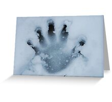Handprint In The Snow Greeting Card